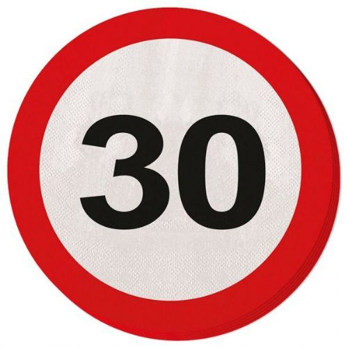 Traffic Sign 30th Party Napkins 20s Birthday Tableware Table Disposables